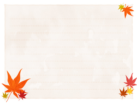 Watercolor style autumn leaves pattern letter pad