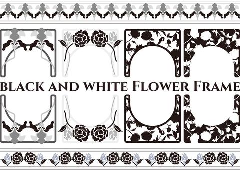 モノトーンフラワーフレーム 飾り枠 花