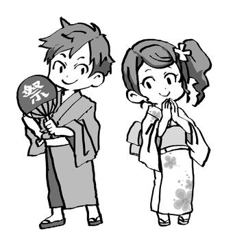 Yukata male and female monochrome
