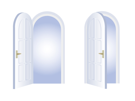 Arched door opening and closing set