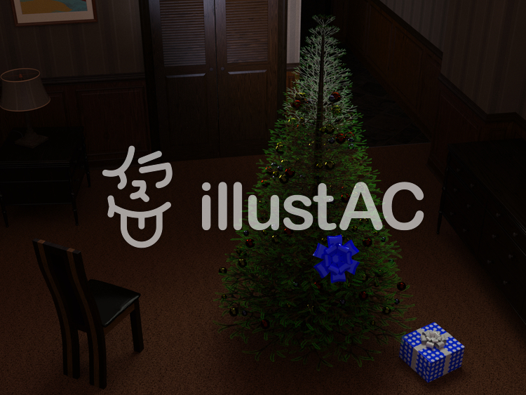 ホテルのクリスマスツリーのイラスト