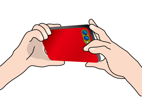 Photograph (34) red smartphone with smartphone