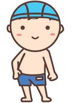 Boy in school swimsuit