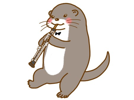 Otters blowing oboe