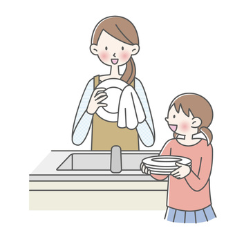 親子でお皿洗い