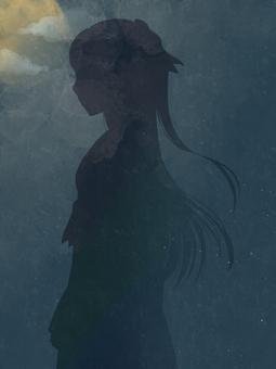 Shadow of sideways woman
