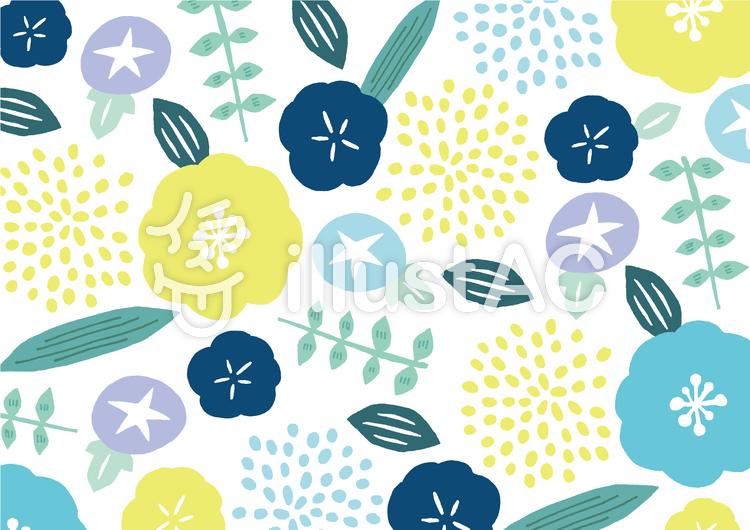 夏の花テキスタイルのイラスト