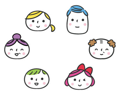 Cute hand-painted person / family / face set