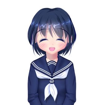 微笑在冬天的衣服的女學生半身