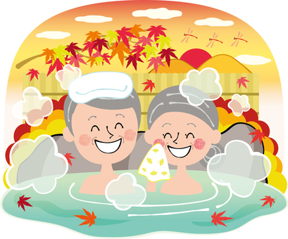 Autumn hot spring background aged man couple rock bath