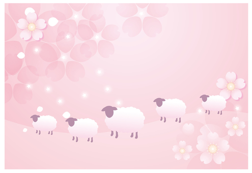 분홍색 꽃 배경과 양 2