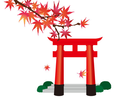 Autumnal leaves and torii