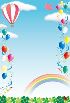 A festive frame of blue sky, balloon and balloon