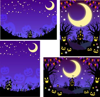 Halloween background 4 types set