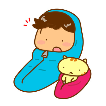 Illustration of a boy and a cat sleeping in a sleeping bag