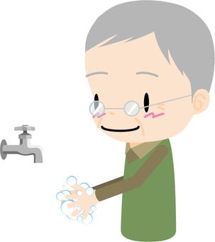 Hand washing (elderly men)