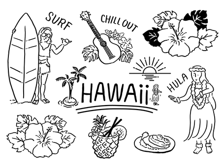 Tropical country illustration set _ Hawaii