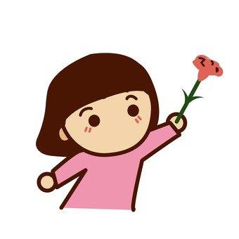 Girls giving flowers