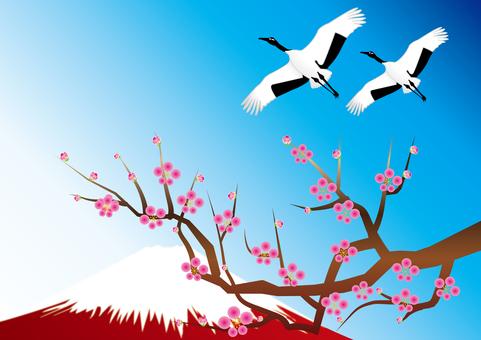 Fuji and plum and crane 5
