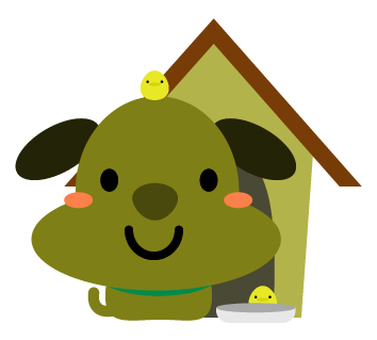 Cute dog and chick in front of the doghouse