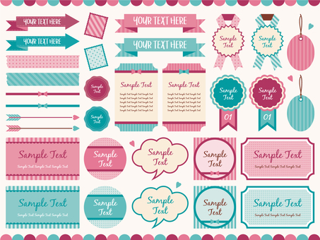 Retro girly decoration set 01