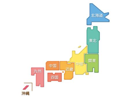 Japan Map 04 _ Region Name Present