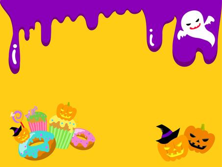 Candy and ghost Halloween frame yellow