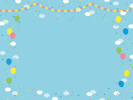 Sky clouds balloons garland background