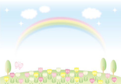 Tulip field and rainbow background 2