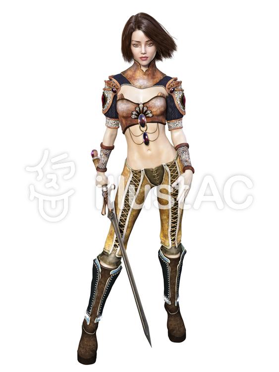 剣を持つ女性戦士のイラスト