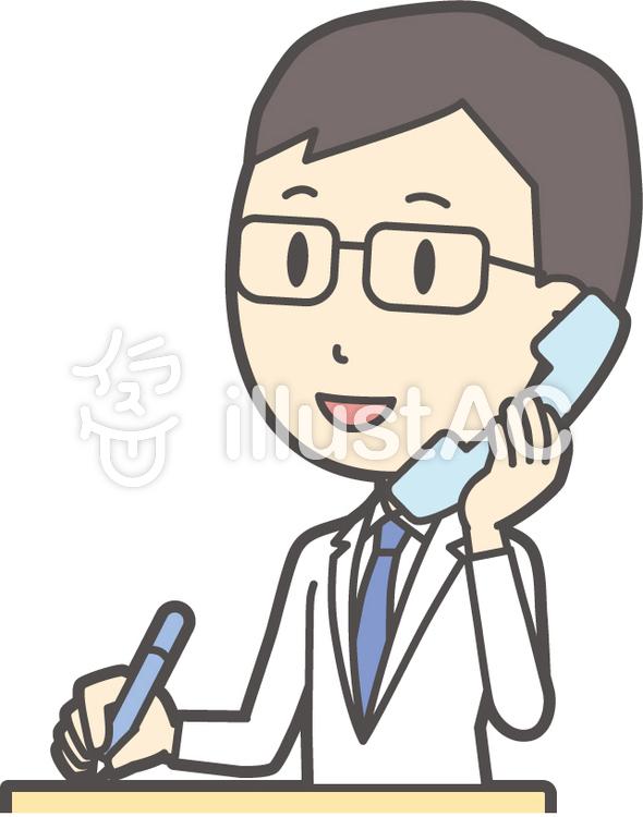 医師青年眼鏡-253-バストのイラスト