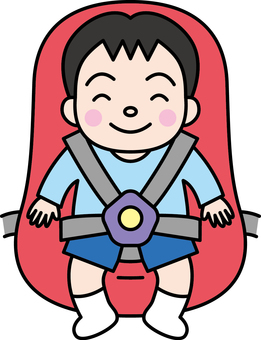 A boy sitting on a child seat