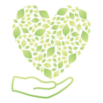 Leaf heart and hands Eco image