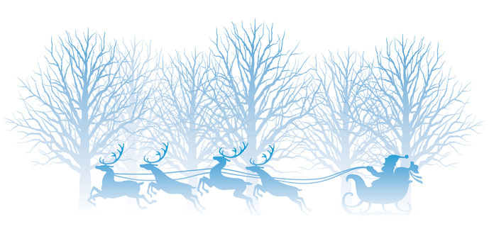 Illustration of winter forest and Santa Claus