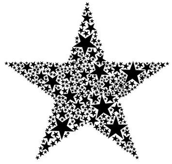 Star and star (black)