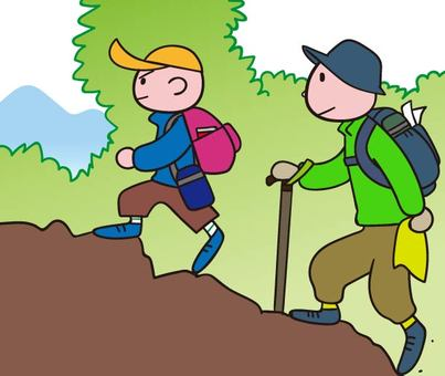 Mountain climbing with parents and children