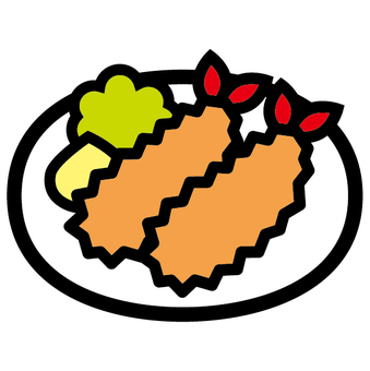 Fried shrimp western food icon fried food