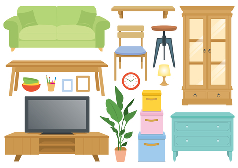 Furniture illustration set