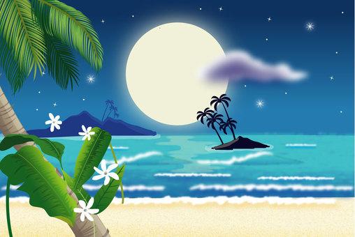 美しい月夜の浜辺2