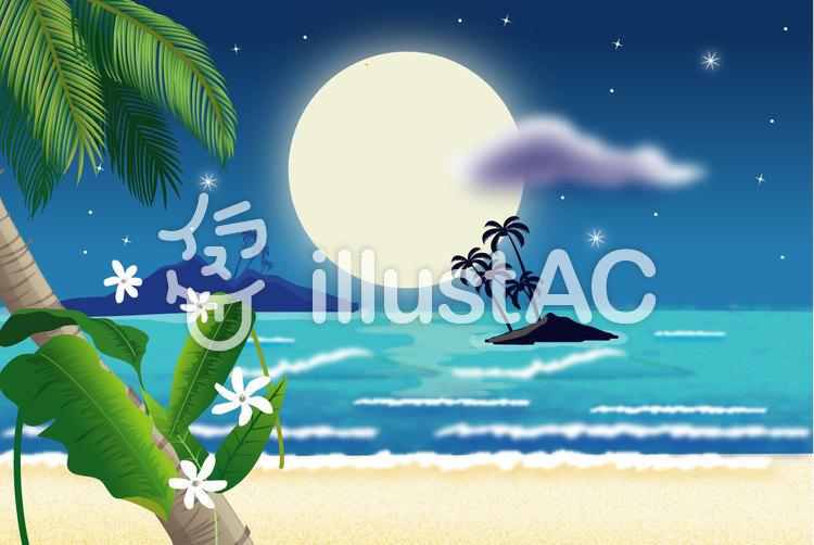 美しい月夜の浜辺2のイラスト
