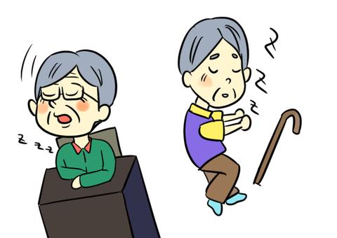 沉睡的祖父的插圖