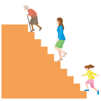 Illustration of a woman climbing a staircase in the 100th era of life