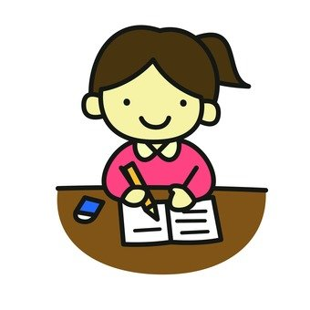 A girl under study