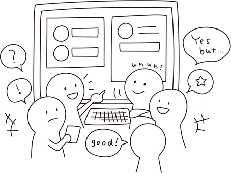 Conference in front of stick figure screen