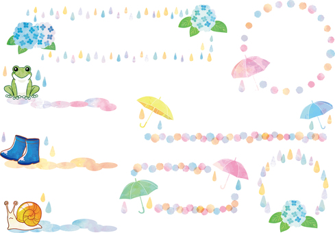 June rainy season watercolor frame set background transparent