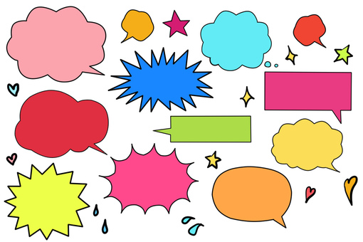 Colorful speech bubble set (with borders)