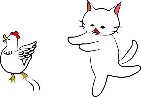 Chasing Nyanko and chicken