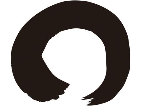 Brush line (circle, black ink)