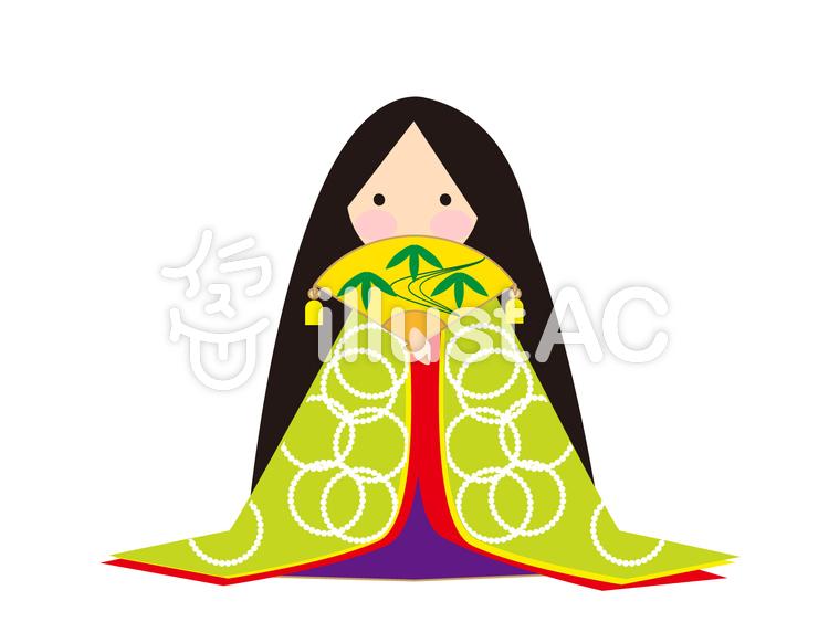 かぐや姫 (黄緑柄)のイラスト