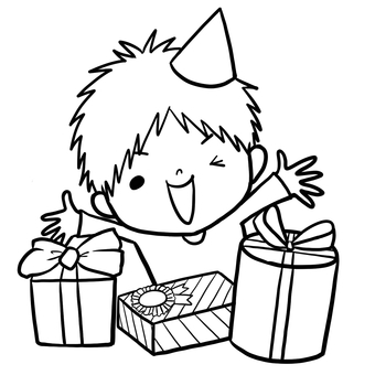 Birthday gift happy boy drawing line painting